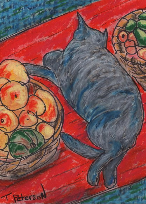Cat Greeting Card featuring the painting Cat Nap by Todd Peterson