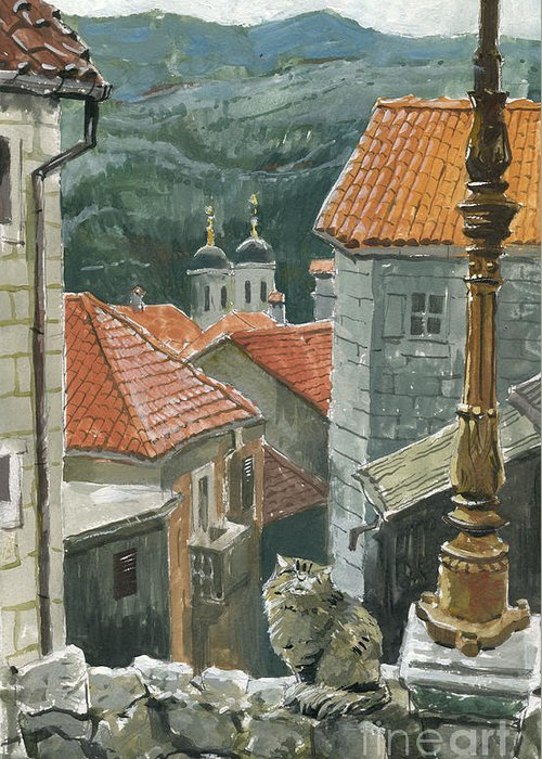 Montenegro Greeting Card featuring the painting Cat Of The Town Of Kotor by Sakurov Igor