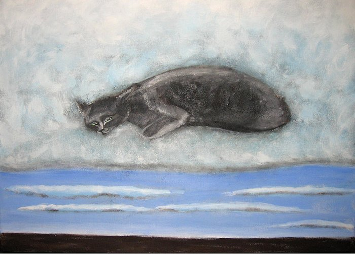 Cat Greeting Card featuring the painting Cat On A Cloud by Aliza Souleyeva-Alexander