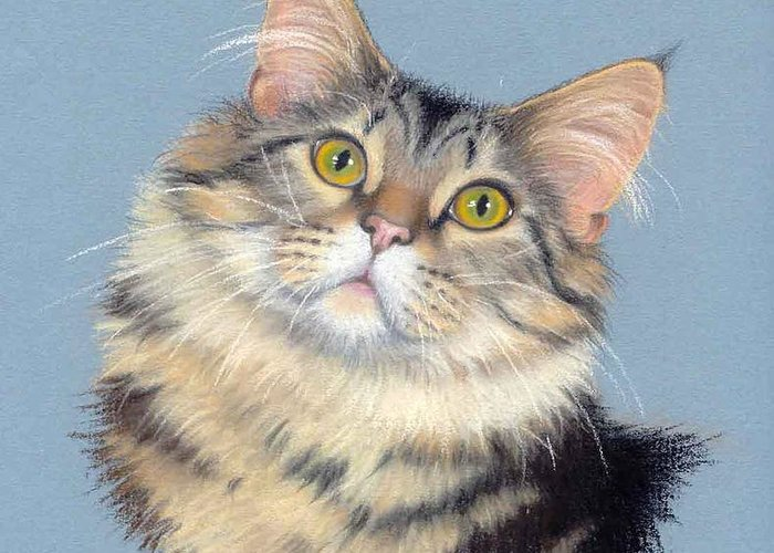 Domestic Animal Greeting Card featuring the painting Cat Portrait by Deb Owens-Lowe