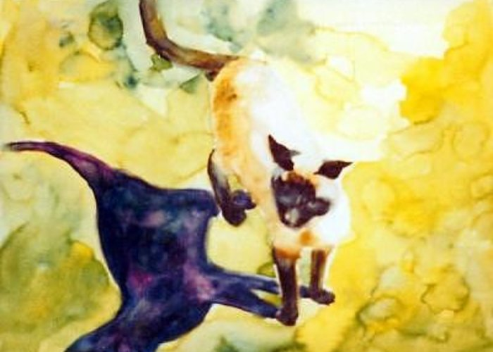 Cat Abstract Greeting Card featuring the painting Cat Shadows by Helen Hickey