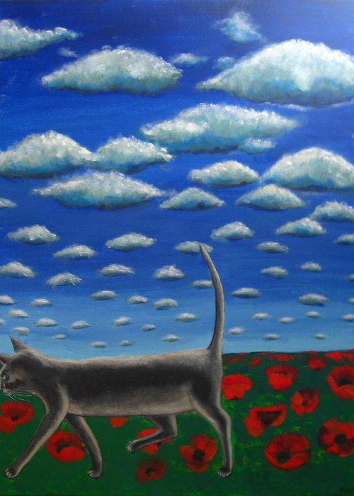 Cat Greeting Card featuring the painting Cat Who Walks Alone by Aliza Souleyeva-Alexander