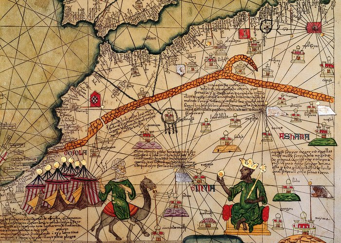 Detail Greeting Card featuring the drawing Catalan Map Of Europe And North Africa Charles V Of France In 1381 by Abraham Cresques