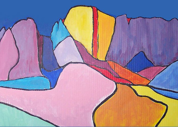 Landscape Greeting Card featuring the painting Catalina Fugue by Mordecai Colodner