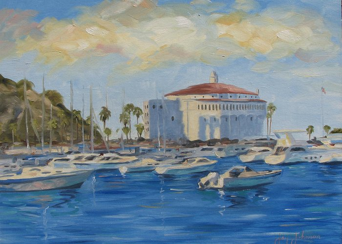 California Greeting Card featuring the painting Catallina Casino by Jay Johnson