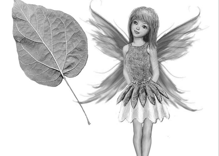 Tree Greeting Card featuring the digital art Catalpa Tree Fairy With Leaf B And W by Yuichi Tanabe
