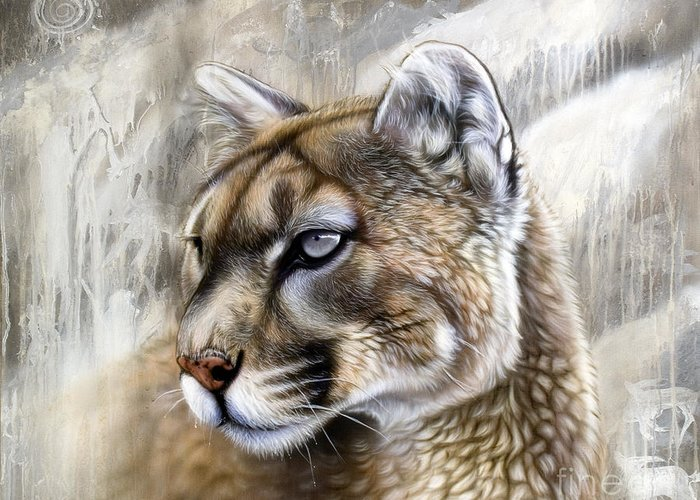 Acrylic Greeting Card featuring the painting Catamount by Sandi Baker