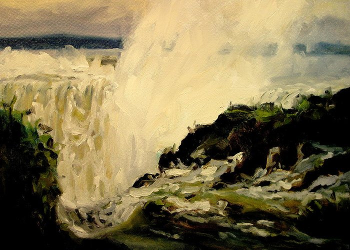 Niagara Falls Paintings Greeting Card featuring the painting Cataract by Brian Simons