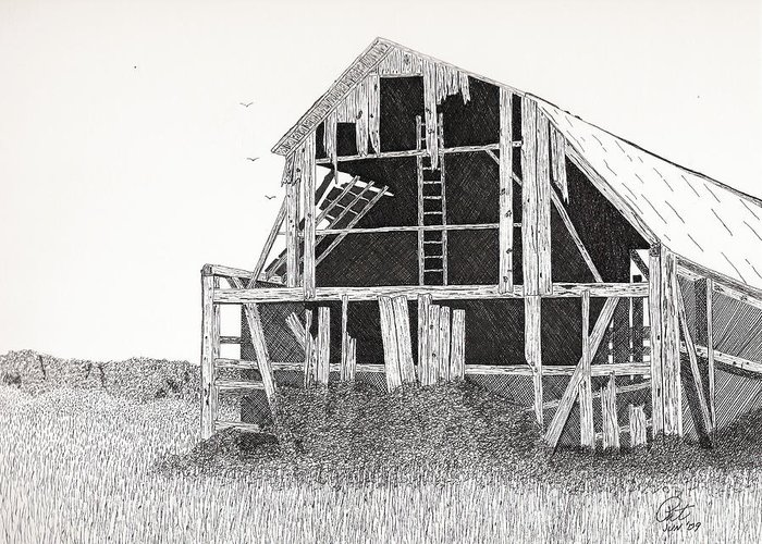 Pen And Ink Greeting Card featuring the drawing Catawba Barn by Pat Price