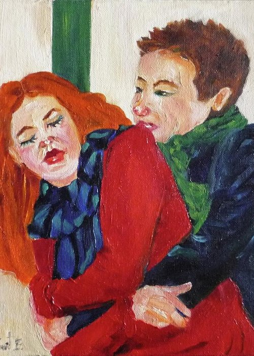 Love Greeting Card featuring the painting Catch Me If You Can by Irit Bourla