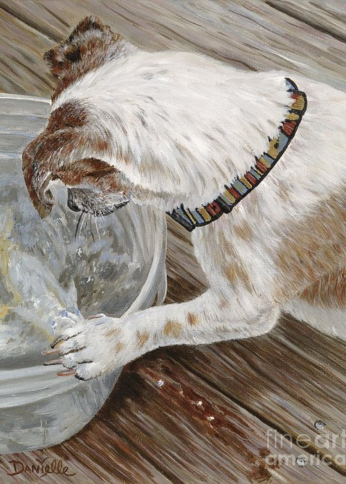Pet Portrait Greeting Card featuring the painting Catch Of The Day by Danielle Perry