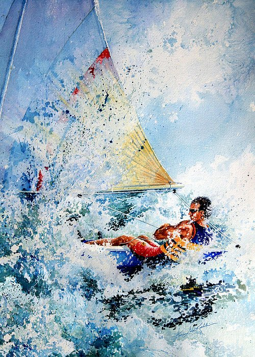 Sailboat Art Greeting Card featuring the painting Catch The Wind by Hanne Lore Koehler