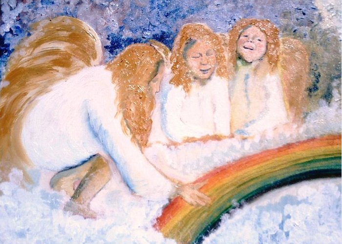 Rainbow Greeting Card featuring the painting Catching Rainbows by J Bauer