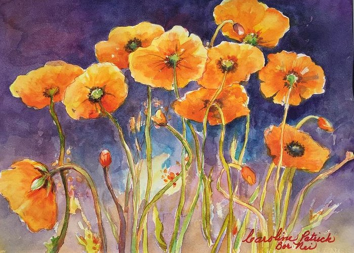 Poppies Greeting Card featuring the painting Catching The Light by Caroline Patrick