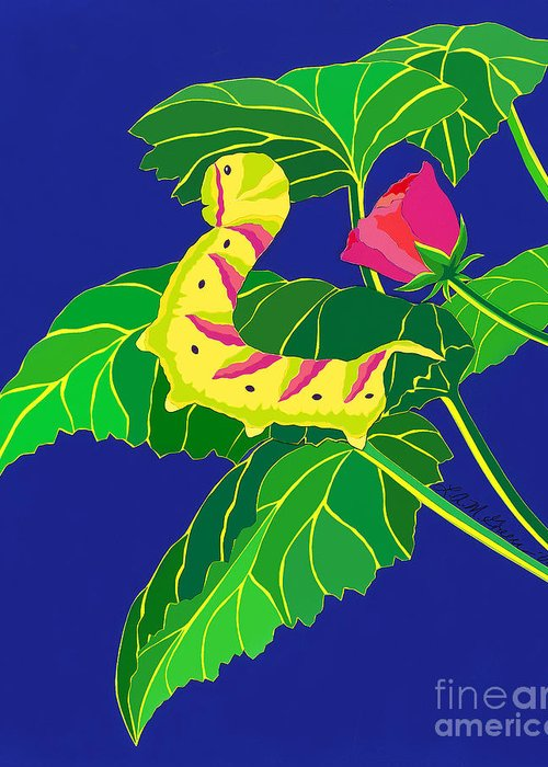 Nature Greeting Card featuring the drawing Caterpillar by Lucyna A M Green