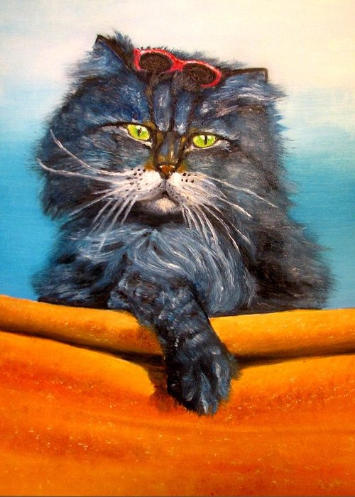 Cat Greeting Card featuring the painting Cat.go To Swim.original Oil Painting by Natalja Picugina
