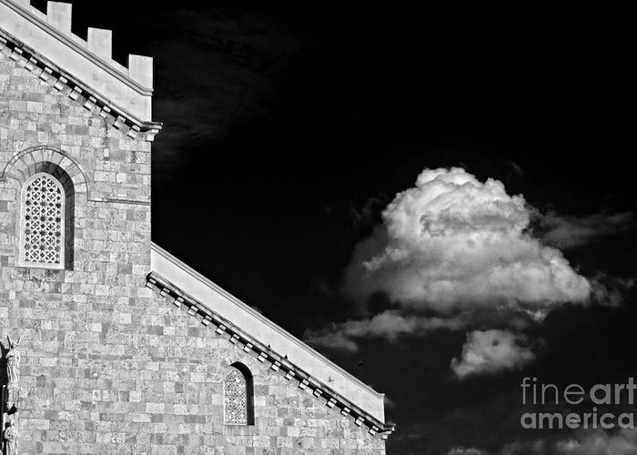 Cathedral Greeting Card featuring the photograph Cathedral And Cloud by Silvia Ganora