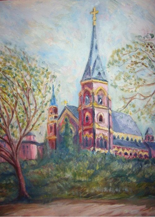 Landscape Greeting Card featuring the painting Cathedral Church by Joseph Sandora Jr