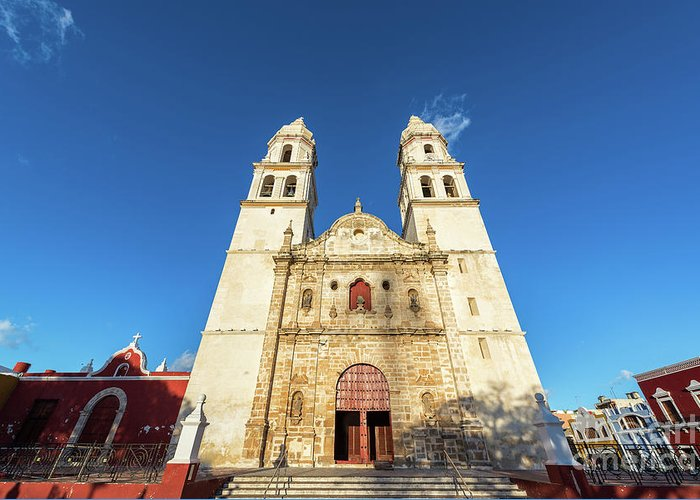 Campeche Greeting Card featuring the photograph Cathedral In Campeche by Jess Kraft