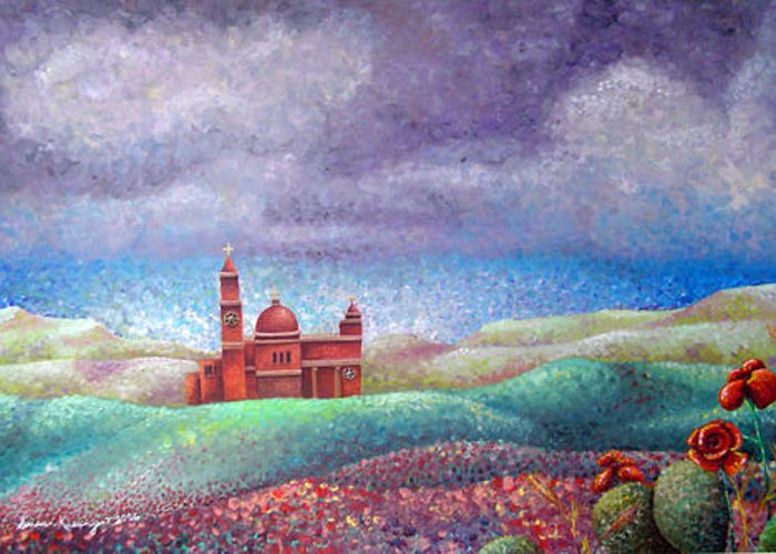 Landscape Greeting Card featuring the painting Cathedral In Gozo by Susan Clausen