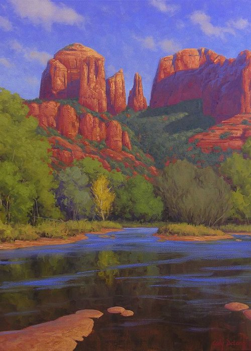 Sedona Greeting Card featuring the painting Cathedral Morning by Cody DeLong