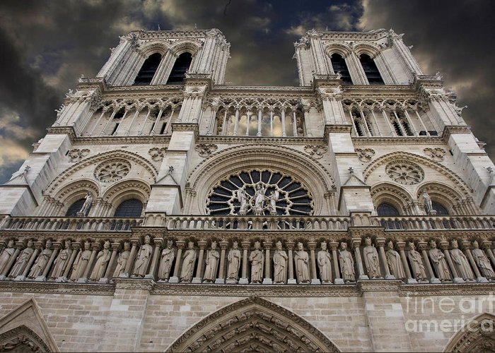 Architecture Greeting Card featuring the photograph Cathedral Notre Dame Of Paris. France  by Bernard Jaubert