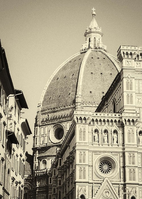 Ancient Construction Greeting Card featuring the photograph Cathedral Of Brunelleschi In Florence by Fabio Migliorucci