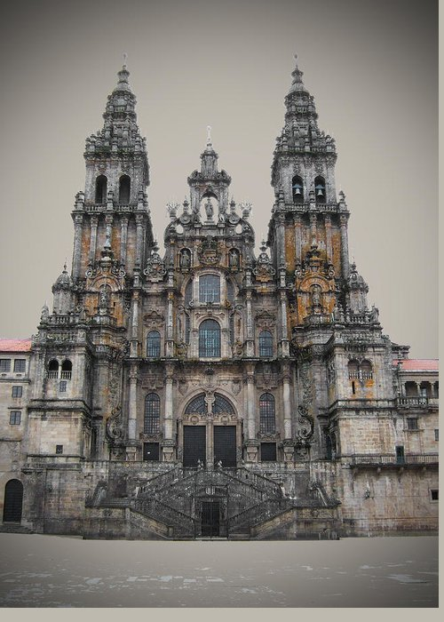 Cathedral Greeting Card featuring the photograph Cathedral Of Santiago De Compostela by Jasna Buncic