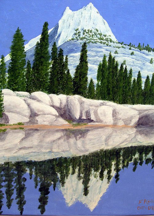 Landscape Paintings Greeting Card featuring the painting Cathedral Peak by Frederic Kohli