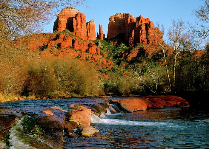 Afternoon Greeting Card featuring the photograph Cathedral Rock At Redrock Crossing by Crystal Garner