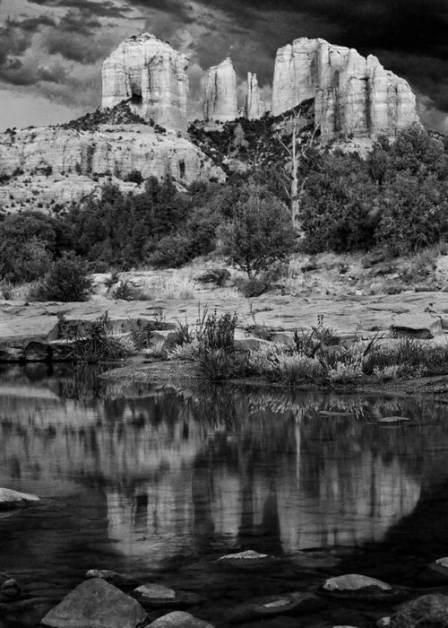 Sedona Greeting Card featuring the photograph Cathedral Rock Black And White Number Seven by Bob Coates