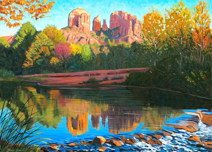 Oak Creek Greeting Card featuring the painting Cathedral Rock - Sedona by Steve Simon