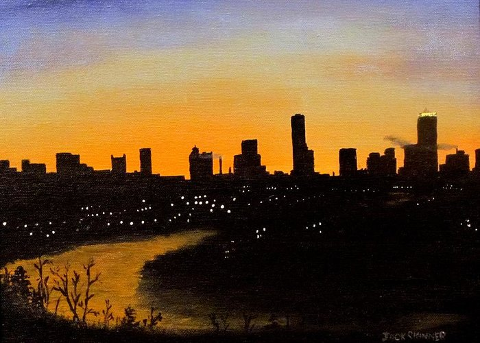 Cityscape Greeting Card featuring the painting Catherine's Sunrise by Jack Skinner