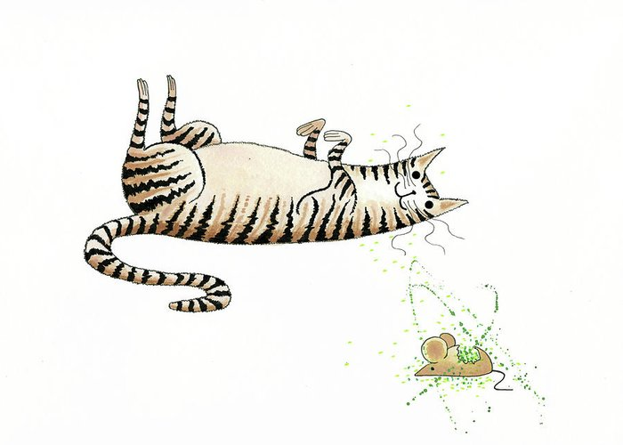 Cat Greeting Card featuring the drawing Catnipped by Andrew Hitchen