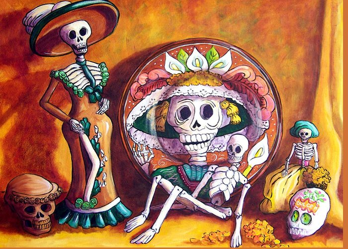Still Life Greeting Card featuring the painting Catrina Still Life by Candy Mayer