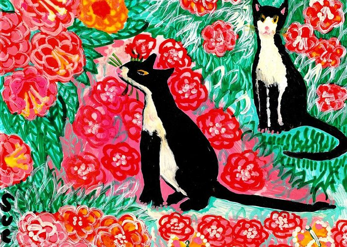 Sue Burgess Greeting Card featuring the painting Cats And Roses by Sushila Burgess