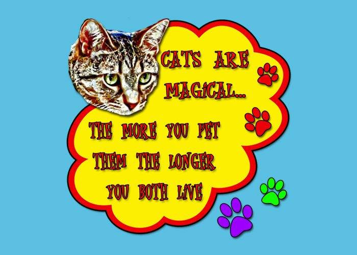 Cats Greeting Card featuring the digital art Cats Are Magical by David G Paul