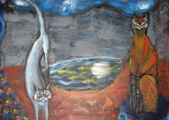 Cat Greeting Card featuring the painting Cat's Dreams by Aliza Souleyeva-Alexander