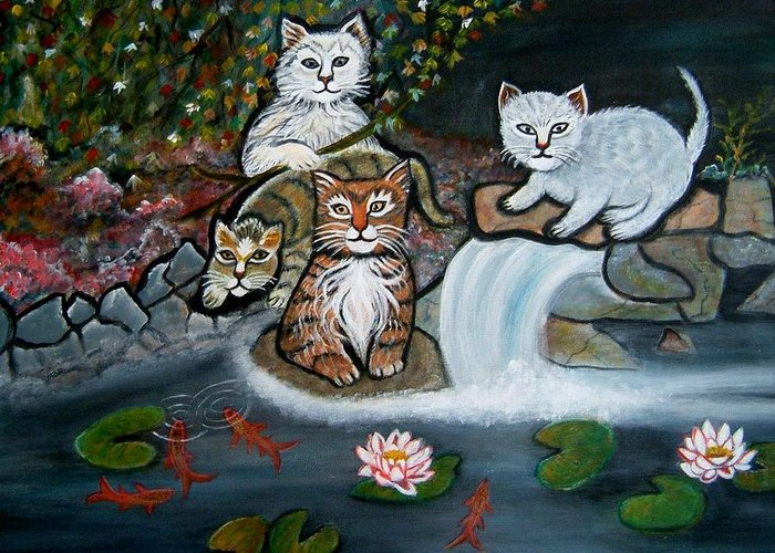 Acrylic Art Landscape Cats Animals Figurative Waterfall Fish Trees Greeting Card featuring the painting Cats In The Wild by Manjiri Kanvinde