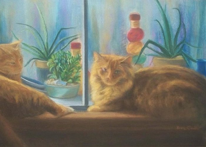 Cats Greeting Card featuring the painting Cats In The Window by Diane Caudle