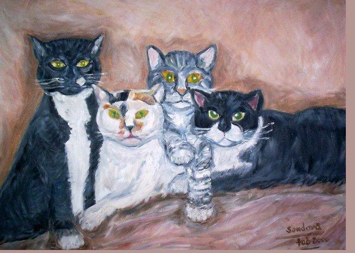Portrait Cats Feline Animals Greeting Card featuring the painting Cats by Joseph Sandora Jr