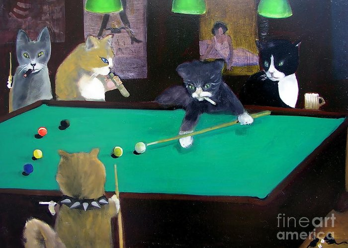 Cats Greeting Card featuring the painting Cats Playing Pool by Gail Eisenfeld