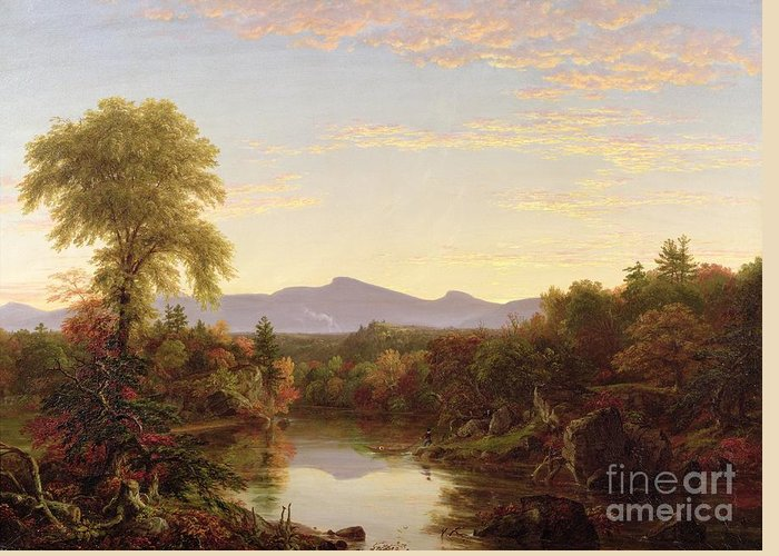 View; River; Autumnal; Autumn; Boat; Fall; Sunset; Catskills; American Landscape; Mountains; New England; Hudson River School; Catskills Greeting Card featuring the painting Catskill Creek - New York by Thomas Cole