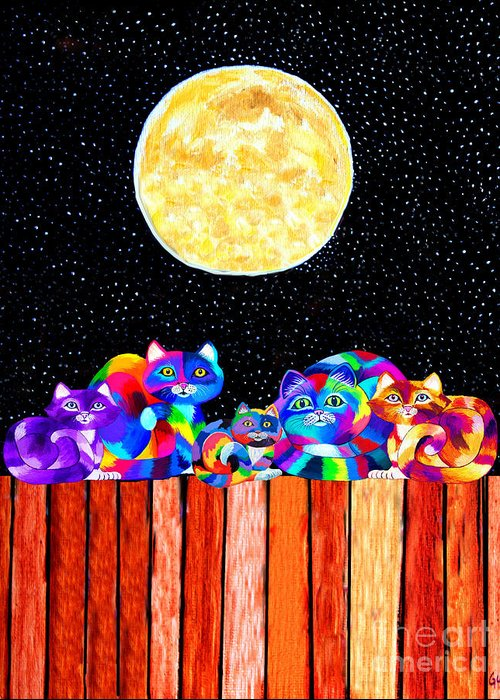 Cat Greeting Card featuring the mixed media Catting In The Moonlight by Nick Gustafson