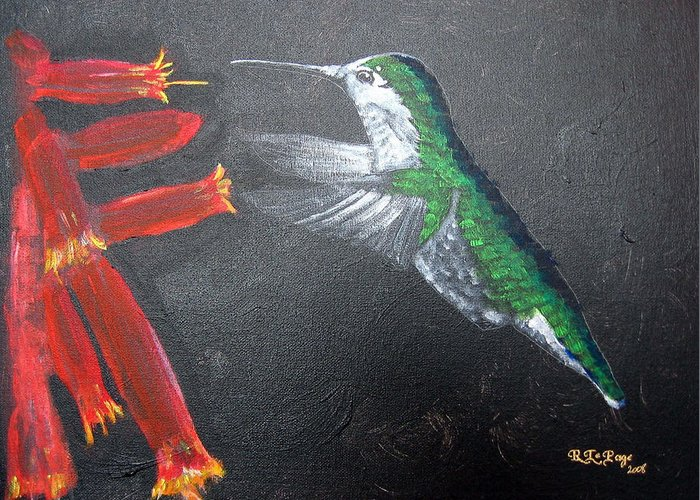 Hummingbird Greeting Card featuring the painting Caught In The Flash by Richard Le Page