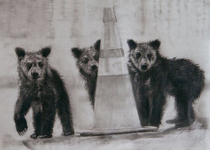 Animals Greeting Card featuring the drawing Caution Bears by Susie Gordon