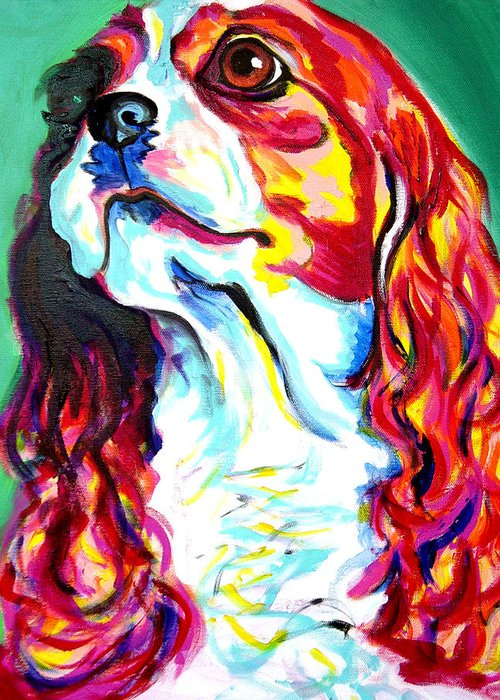 Dog Greeting Card featuring the painting Cavalier - Herald by Alicia VanNoy Call