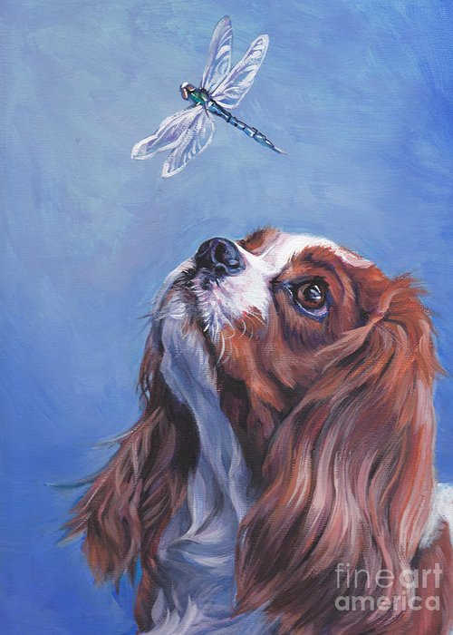 Cavalier King Charles Spaniel Greeting Card featuring the painting Cavalier Curiosity by Lee Ann Shepard