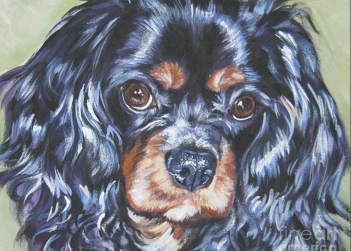 Cavalier King Charles Spaniel Greeting Card featuring the painting Cavalier King Charles Spaniel Black And Tan by Lee Ann Shepard