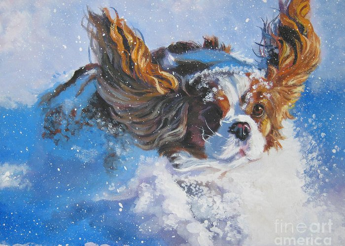 Dog Greeting Card featuring the painting Cavalier King Charles Spaniel Blenheim In Snow by Lee Ann Shepard